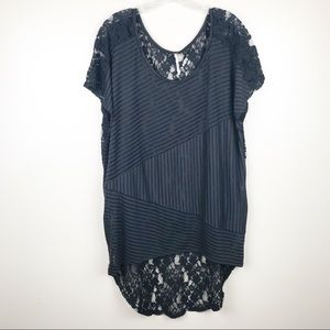 Free People large black lace hi low tunic
